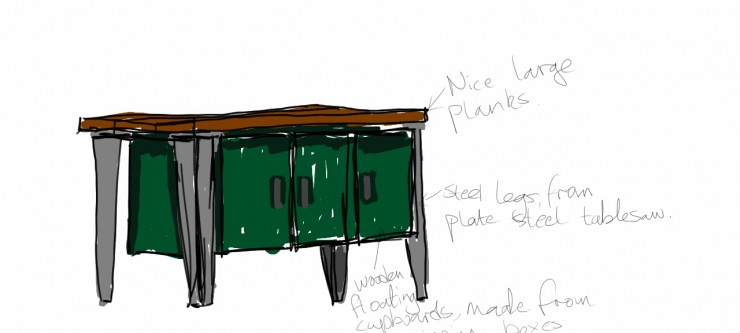 Concept Drawing Floating Cabinet